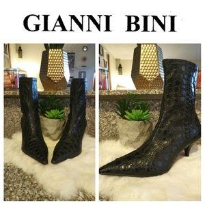 Gianni Bini Croc Embossed Sock Booties